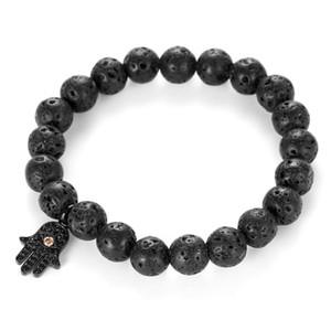 Mcllroy Charm Bracelets Men Natürliche Vulkanstein-Korn-Armband Männer Männliche Hamsa Lava Viking-Armband-Armbänder Männer Schmuck Accessoires