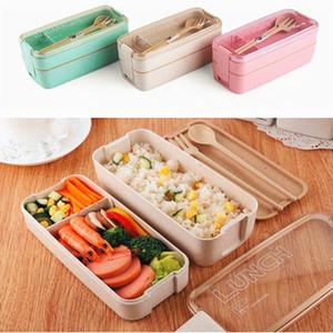 750ml lunch bento box Material saludable 2 capas Lunch Box Trigo Paja Bento Cajas Microondas Vajilla Contenedor de almacenamiento de alimentos Lunchbox