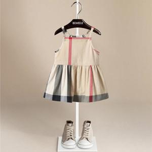 Ventas calientes Pure Cotton Plaid Dress Patchwork Baby Girls Inglaterra Estilo Plaid Girl Vestidos Niño Suave Sin Mangas Casual Plaid Dress