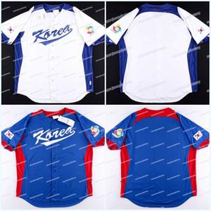 Los hombres del equipo Corea del Sur 2013 Clásico Mundial de béisbol hacia el otro lado de New campo personalizado de alta calidad Azul marino jerseys del béisbol