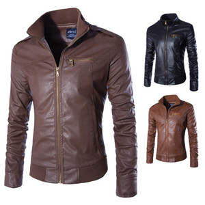 Newest Motorcycle Cool Leather Jackets Men Solid Business Casual Coats Autumn Winter Leather Clothing Bomber Jacket For Male