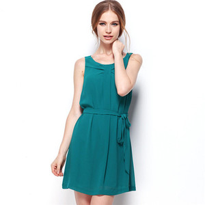 Леди Одежда Лето Чистый Цвет Юбка До Колен С Поясом Женщины Модные Сексуальные Шифон Платье Без Рукавов