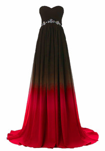 2018 Sexy Sweetheart A-Line Gradient Red Blue Chiffon Prom Dresses With Beading Chiffon Floor-Length Plus Size Evening Formal Party Gown