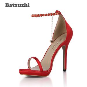 الجملة الأزياء اليدوية النساء صندل أحذية الكاحل الشريط مع شرابة الأحمر النساء أحذية عالية الكعب الصيف الزفاف ، حجم كبير 43