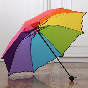 Neue bunte Regenbogenfarbe Rainy Teleskop Regenschirm 8 Rippen Drei-Folding falbala Regen Regenschirme 10pcs / lot T2I418