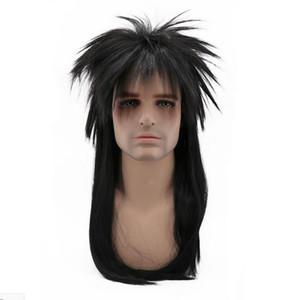 무료 배송 80 년대 레트로 롱 스트레이트 펑크 털이 머리카락 검은 색 코스프레 의상 남성용 남성용 가발