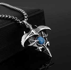 hot new Titanium steel men eagle wing pendant retro casting personality stainless steel with turquoise pendant fashion popular