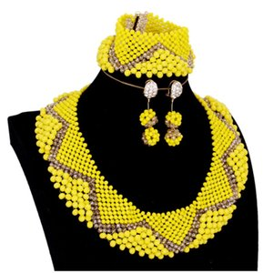 Yellow Gold Jewelry Set For Women Round African Beads Bridal Jewelry Set Free Shipping Ladies Necklace Set Nigerian 2018 Fashion