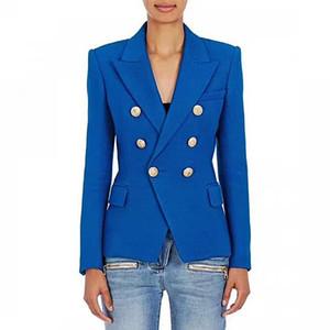 ВЫСОКОЕ КАЧЕСТВО Новейшего Барокко Blazer Женский Металл Lion Кнопка Двойной Брестед Blazer Jacket Размер S-XXL