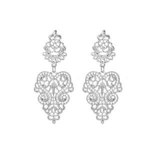 Kadınlar için uzun Bohemian Alaşım Damla Küpe Hollow Gümüş Renk Büyük Şekil Küpe Bildirimi Bırak Dangle Küpe