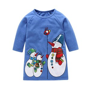 Baby girls christmas snowman dress Niños Xmas vestidos de princesa de manga larga 2018 Autumn fashion Boutique Kids Clothing C5282