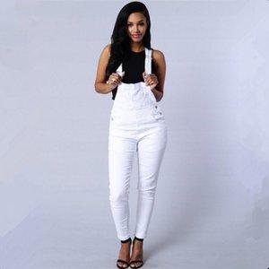 Europa US Primavera Outono moda Tide senhora Jeans Rompers bonitos brancos verdes Bib botões cinta bolsos de algodão de alta qualidade Jumpsuits