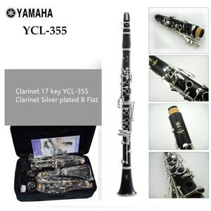 Japón Clarinete 17 teclas Clarinete YCL-355 Plateado Bb Klarinet Baquelita Clarinete con estuche Dos pares de exposiciones principales