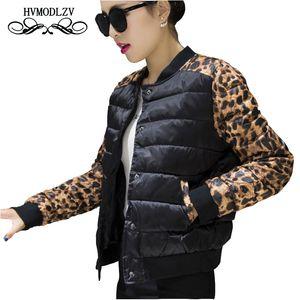 2017 Nuevo Invierno Chaqueta de Algodón Fino Mujer Tallas grandes Leopard Impreso manga larga Mujer Chaqueta de algodón Bombardero Casaco feminino LJ544 S18101203