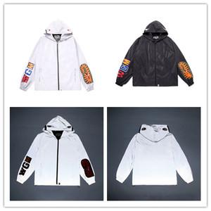 Tie Brand Men &#039 ;S Windbreak Tiger Head Shark Mouth Reflective Jackets Thin Long Sleeve Hooded Jackets Men Hip Hop Sport Coat Casual S