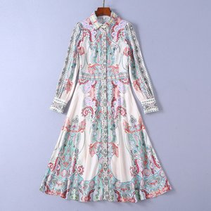 Spedizione gratuita Milano Runway Dress 2019 New Apricot bavero collo manica lunga stampa Designer Dress Marca Stesso stile Dress w23