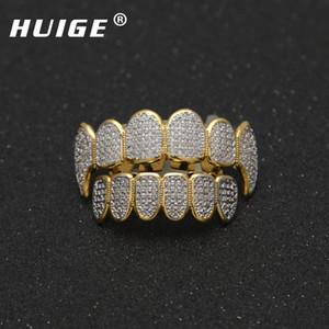 Punk Gold Color Hip Hop Micro Pave Кубический циркон Зубы Grillz Caps Top Bottom Мужчины Женщины клыки вампира Грили Set