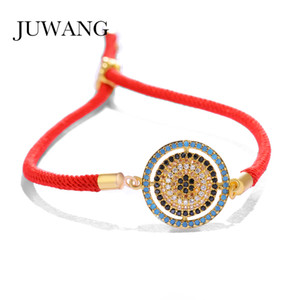 JUWANG Brand Red Rope String Bracelet&Bangle for Women Men Colorful Cubic Zirconia Greek Evil Eye Charm Adjustable Gift