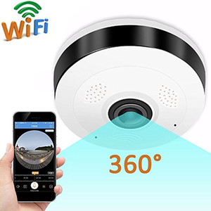 360 Degree Panoramic Fisheye Wireless Indoor Security Camera with Night Vision, Two-Way Audio
