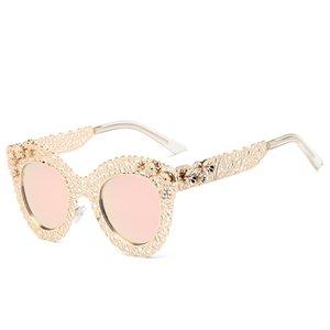 MINCL / 2017 Cat Eye Sonnenbrille Retro Dekorative Spiegel Sonnenbrille Kristall Volle Metallspitze mit Der Box LXL