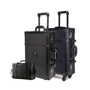 Retro conjunto de equipaje rodante negro Spinner mujeres contraseña trolley 24 pulgadas maleta ruedas 20 pulgadas Vintage cabina viaje bolsa tronco