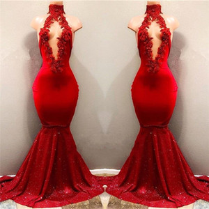 2020 Real Pictures Red Sexy High Neck Mermaid Sequined Skirts Prom Dresses With Hollow Out Front Lace Appliqued Beads Evening Gowns BA7962