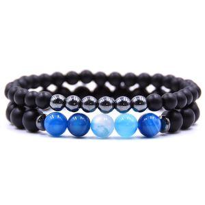 Black Mantra Prayer Beads strand 6mm 8MM Stone Stripe Bead Beaded Buddha Women Men Elastic Bracelets