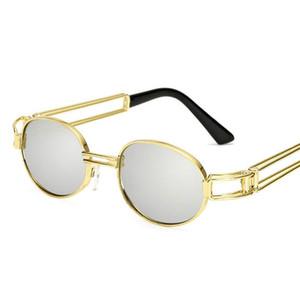 Retro redonda pequena Sunglasses Men Masculino Vintage Steampunk Sunglass Mulheres Hip Hop ouro Óculos de luxo Designer Eyewear UV400