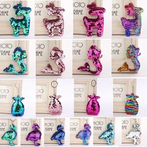 18 estilos Flamingo Keychain Glitter Pompom Mermaid Lentejuelas Llavero Regalos para Llaveros Mujer Charms Car Bag piña Llavero GGA952