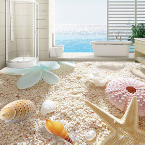 3D Flooring Wallpaper Shell On The Beach Custom PVC Photo Wallpaper Living Room Bathroom Removable Direct Peel Off Floor Sticker
