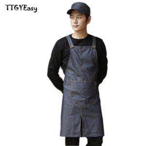 Nouveau Hot Denim Apron Avec poche Café mode Cowboy Uniforme Unisexe Tabliers pour Femme Hommes Cuisine Chef Waiter Cuisine restaurant