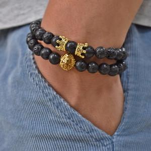 Clássico Charm Bracelet animal com coroa pulseira de 8 milímetros lava Natural Pedra Pave CZ Coroas homens mulheres casal jóias