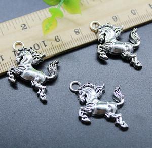 50 pcs Lot Cavalo Animal Liga Encantos Jóias Pingente Fazendo DIY Retro Antigo Pingente de Prata para Pulseira Colar Keychain 25 * 25mm