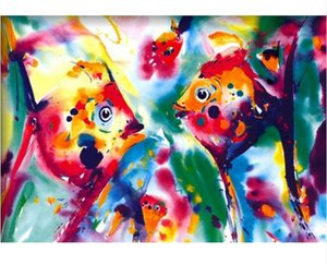 Angel Fish Alfred Gockel Handpainted & HD Print Abstract Art oil painting Wall Art Home Decor On High Quality Canvas Multi Sizes l159