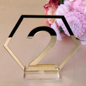 1 مجموعة علامات عدد مسدس الجدول ل حفل زفاف ديكور الاكريليك عدد ، الأرقام الرومانية محور هندسي