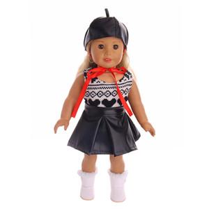 Moda serin El Yapımı elbise suit + şapka fit 18 Inç Amerikan Kız Bebek Giysileri Aksesuarları
