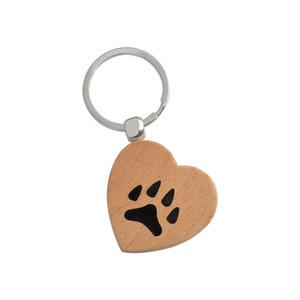 Paw Foot Print Heart Keychain Paw bijoux en bois porte-clés bijoux de coeur Pet Dog Cat Lover cadeaux porte-clés