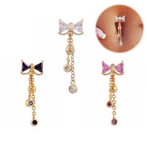 Moda Bowknot anillos del ombligo Bar Acero inoxidable Piercing quirúrgico Sexy Body Jewelry para mujeres CZ piercing del ombligo anillo del vientre
