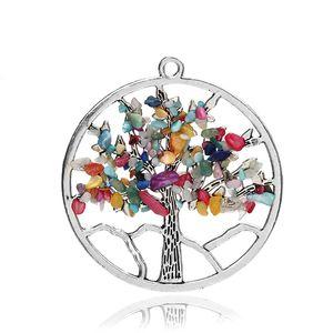 الأزياء والمجوهرات شقرا شجرة الحياة الكوارتز قلادة متعدد الألوان الحكمة شجرة الحجر الطبيعي قلادة قلادة سحر بالجملة
