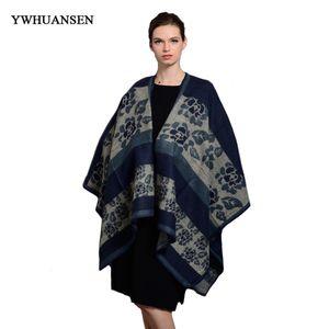 YWHUANSEN 130 * 155cm 빈티지 여성 판초와 케이프 뜨거운 판매 여성 Bufandas 여성 겨울 스카프 Blanket Echarpe Femme New
