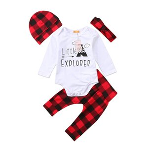 """Natale Ins bambini Neonate maschi vestiti di cotone 4 pezzi imposta """"piccolo esploratore"""" lettera pagliaccetto rosso plaid pantaloni cappello neonato abiti Set di abbigliamento"""