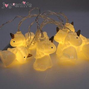 Eco-Friendly Joy -Enlife 1set 2m mignon licorne tête Guirlande LED nuit fond lumière bébé Salle de douche Décor Halloween Party Kids Party