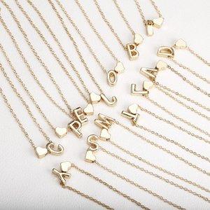 Peach Heart Shaped 26 lettres collier pendentif en or Pendentif Cadeaux initiaux personnalisés de bijoux de la chaîne pour les femmes Lady filles de cadeau de Noël