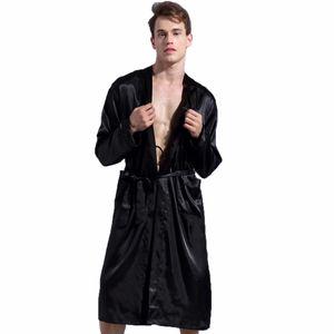 1844Brand رداء طويل مضاهاة الحرير لينة المنزل البشكير زائد حجم xxl ثوب النوم للرجال كيمونو الجلباب autunm لربيع الشتاء الصيف