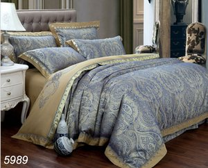 Golden blue embroidered jacquard silk bedding sets wedding 4pcs bed set home textile linens new fashion hot sale 5989