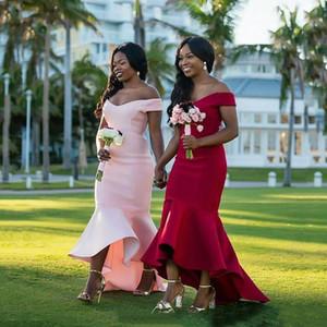 Sin mangas Alto Bajo la sirena dama de honor del hombro formal de la boda vestido de visitantes cremallera de la espalda por encargo de la dama de honor atractiva