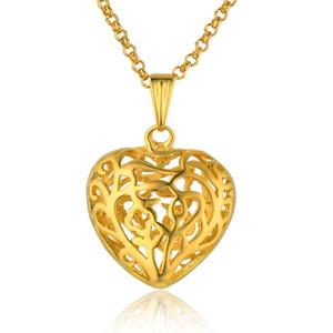 Goldene hohle herzform anhänger halskette für frauen nette goldfarbe liebhaber schmuck frauen anhänger halskette collier