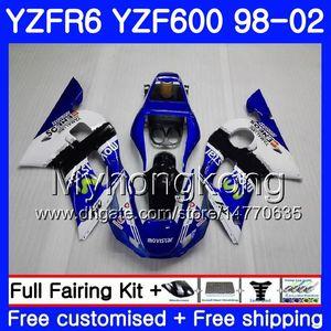 YAMAHA beyaz YZF600 YZF R6 için Movistar Blue Body 1998 1999 2000 2001 2002 230HM.47 YZF-R6 98 YZF 600 YZF-R600 YZFR6 98 99 00 01 02 Fairings