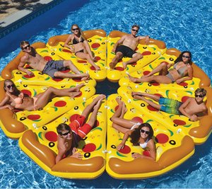 8pcs lot Inflatable Pizza Float 180*150CM Drink Cup Holder Summer Outdoor Swmming Pool Raft can link together Swim Beach Water Party Toys