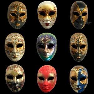 Hanzi_masks Carnaval masques vénitiens Plein visage peint à la main italien adultes Masque de treillis masculin / féminin Décoration de Halloween